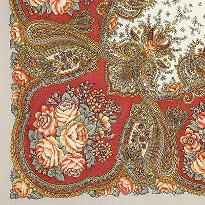 """Платок Павловопосадский с шелковой бахромой 89 x 89 1549-4 """"Сольвейг"""", вид 4"""