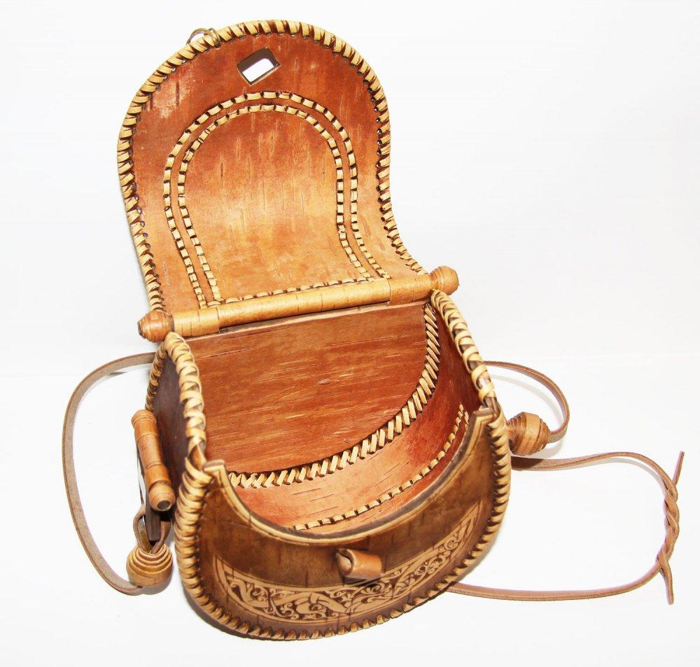 Береста сумочка женская круглая, 17 x 16 x 11