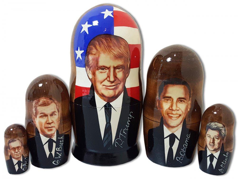 Матрешка политические лидеры Дональд Трамп, американские президенты, 5 мест мал
