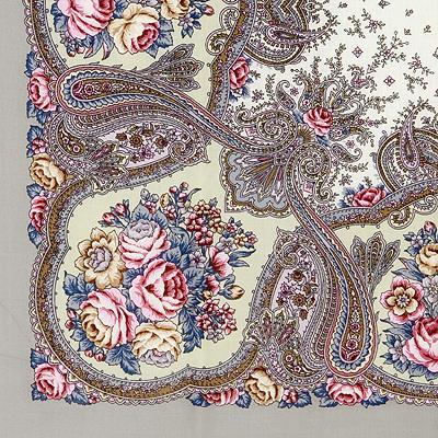 """Платок Павловопосадский с шелковой бахромой 89 x 89 !1549-1 """"Сольвейг"""", вид 1"""