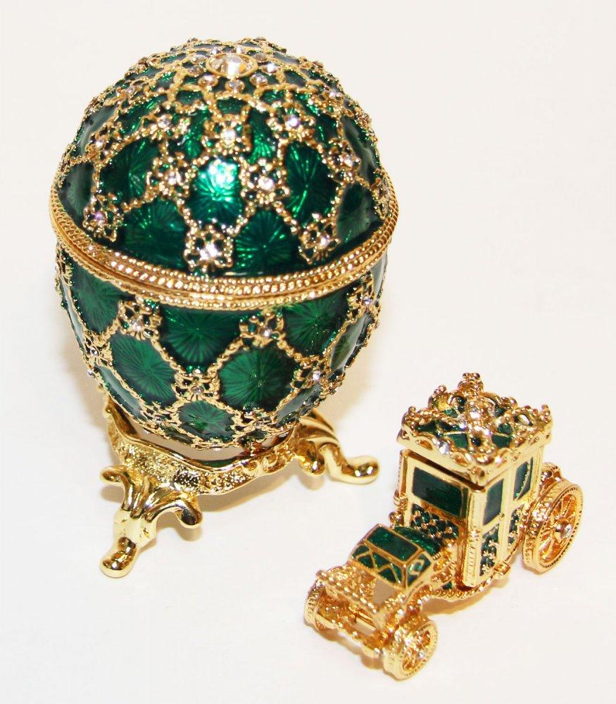 Копия Фаберже JD0725A-4+JD0767-4 Яйцо пасхальное с каретой, среднее, зеленое