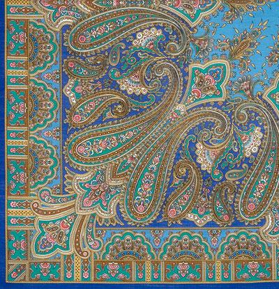 "Платок Павловопосадский с шерстяной бахромой 125 x 125 1472-13 ""Бирюсинка"", вид 13"