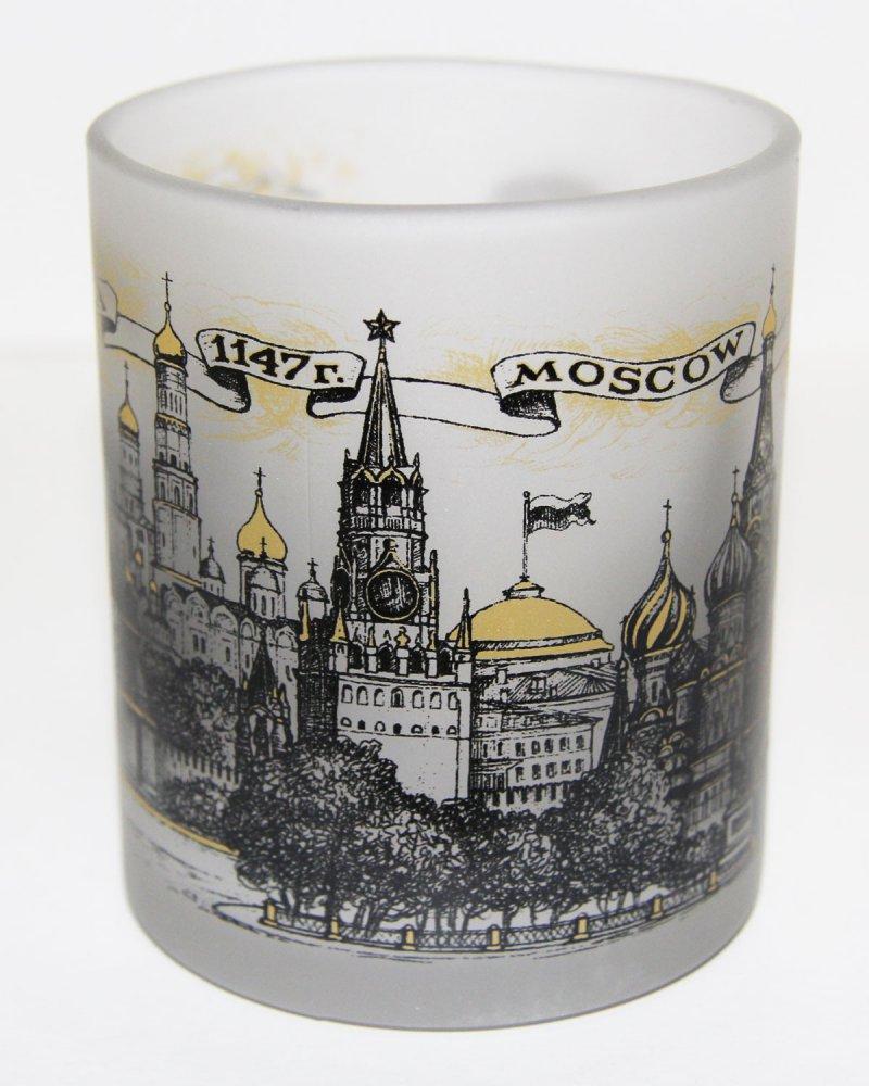 """Кружка 068-BR-22 стекло, """"Москва"""", двуцветная."""