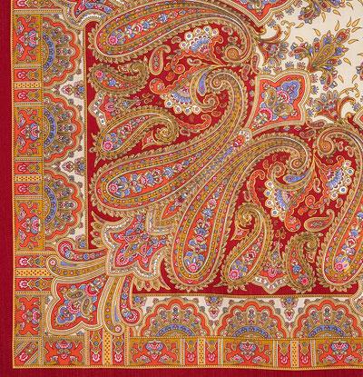 "Платок Павловопосадский с шерстяной бахромой 125 x 125 1472-5 ""Бирюсинка"", вид 5"