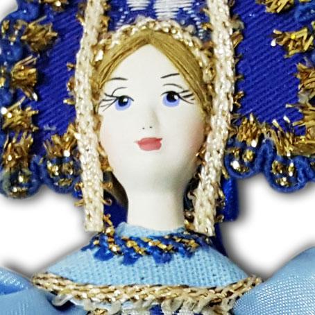 Кукла малая синеголубой наряд, аф46, елочная игрушка