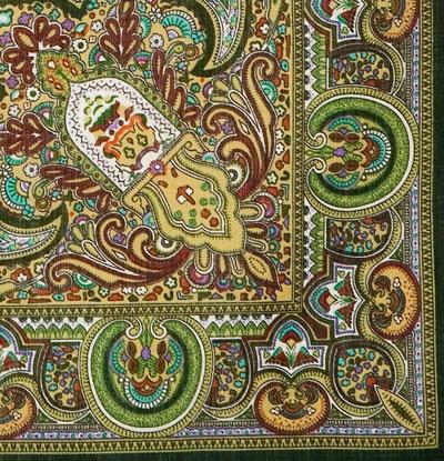 "Платок Павловопосадский с шелковой бахромой 146 x 146 710-10 ""Испанский"", вид 10"