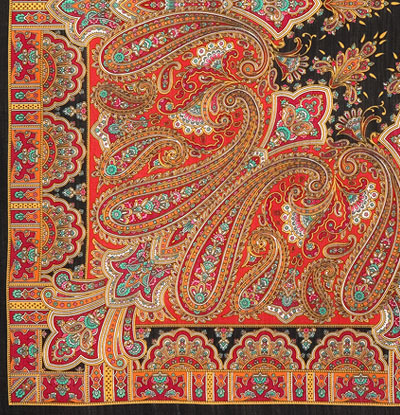 "Платок Павловопосадский с шерстяной бахромой 125 x 125 1472-18 ""Бирюсинка"", вид 18"