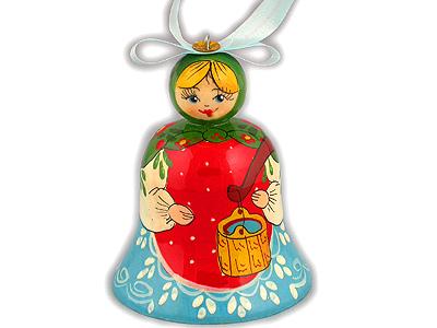 Новый Год и Рождество елочная игрушка Колокольчик матрешка