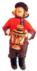 Кукла авторская Галина Масленникова А2-13 Парень с самоваром