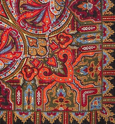 "Платок Павловопосадский с шелковой бахромой 89 x 89 1155-18 ""Шафран"", вид 18"