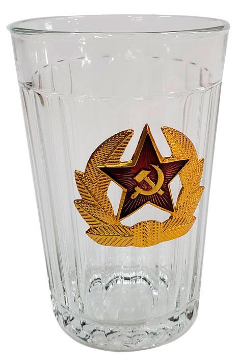 Посуда Стакан граненый, кокарда со звездой