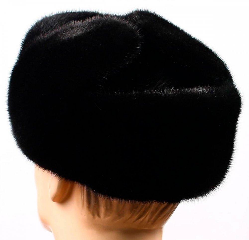 Головной убор шапка меховая норковая шапка-ушанка, черная