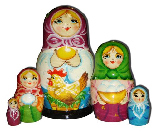 Матрешка Сергиево-Посадская 5 мест Девочка с курицей