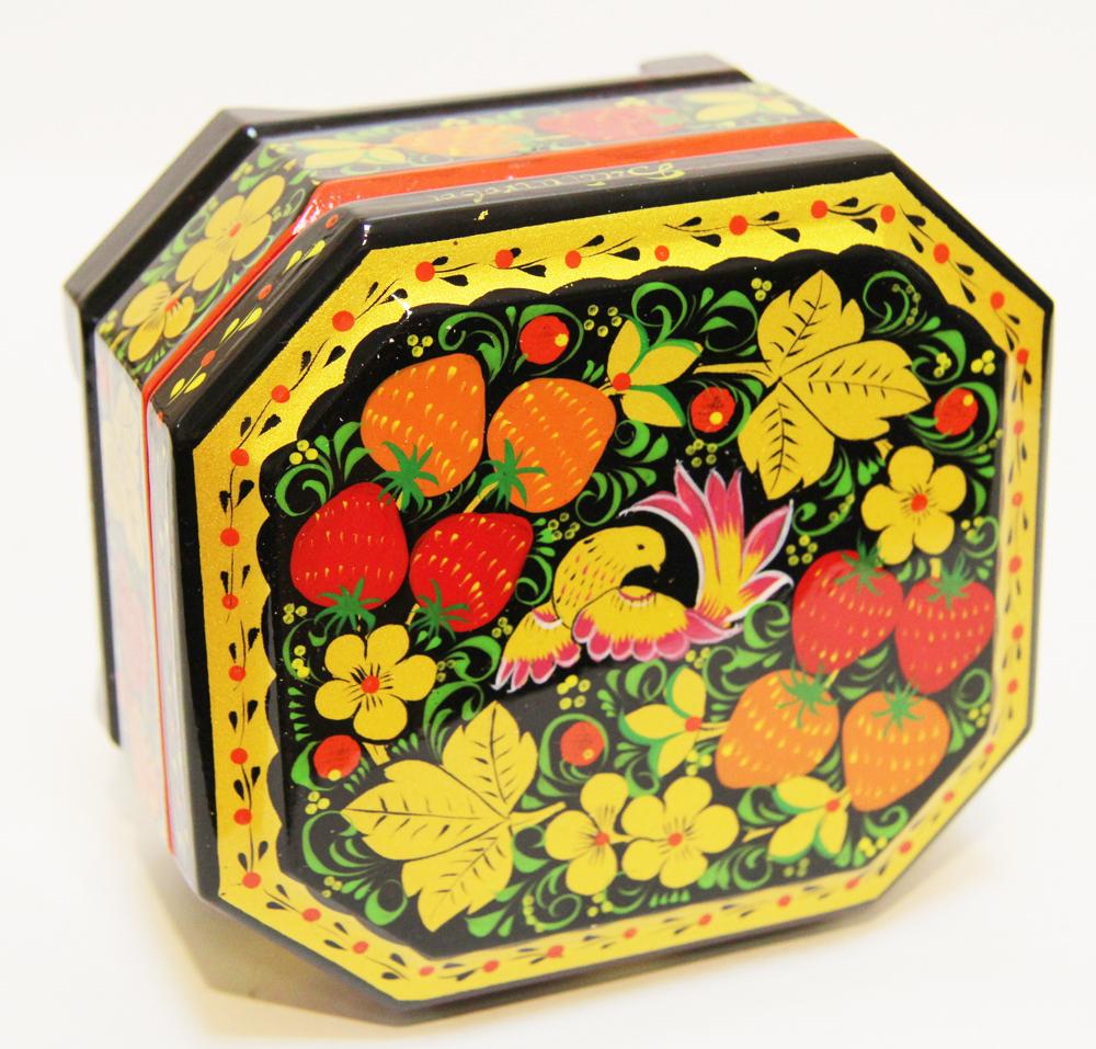 Хохлома сувенирная Шкатулка 6,5 х 12 х 8 см
