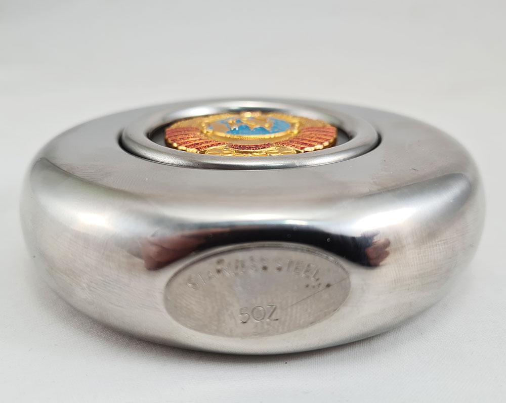 Фляжка металлическая круглая, герб СССР