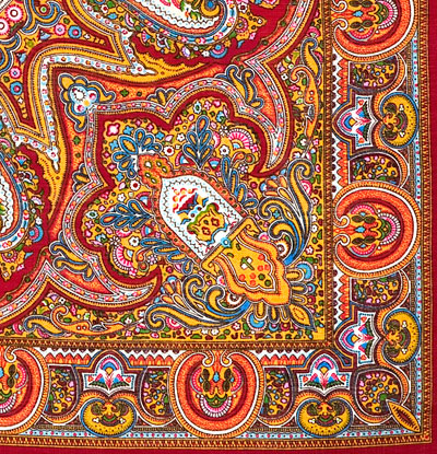 "Платок Павловопосадский с шелковой бахромой 146 x 146 710-5 ""Испанский"", вид 5"