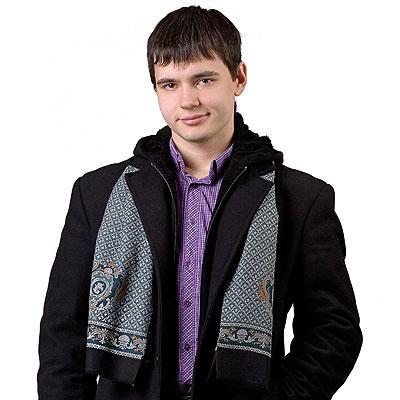 """Кашне мужское 639-2 чистошерстяное, """"Брызги шампанского"""", вид 2"""
