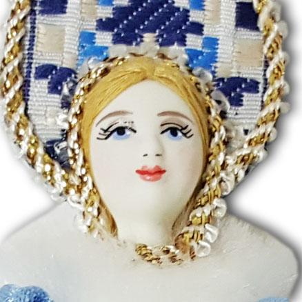 Кукла малая белоголубой наряд, мех, аф45, елочная игрушка