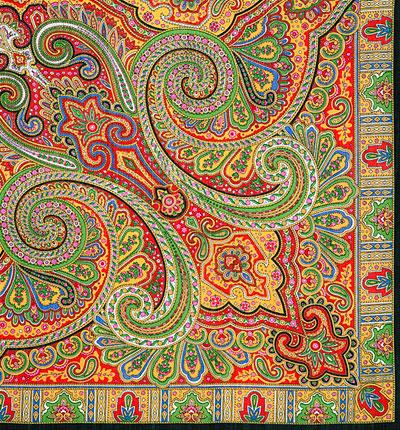 """Платок Павловопосадский с шелковой бахромой 125 x 125 814-18 """"Классический"""", вид 18"""