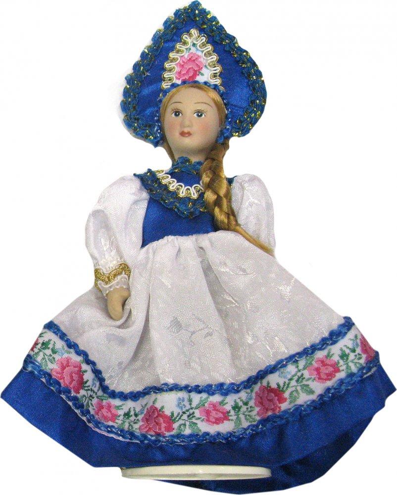 Кукла фарфоровая H-8676A В синем кокошнике
