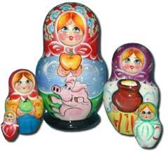 Матрешка Сергиево-Посадская 5 мест Девочка с поросенком