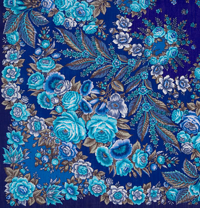 """Платок Павловопосадский с шелковой бахромой 146 x 146 1462-14 """"Признание"""", вид 14"""