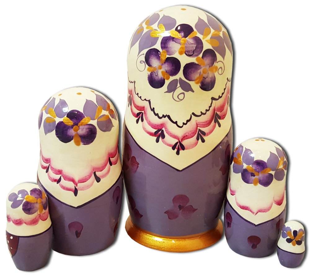 Матрешка Сергиево Посадская 5 мест кружевной платок Светло Фиолетовая