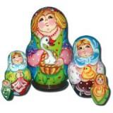 Матрешка Сергиево-Посадская 5 мест Женщина с гусем