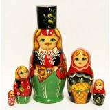 Матрешка Сергиево-Посадская 5 мест Мужик в шляпе