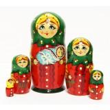 Матрешка Сергиево-Посадская 5 мест девушка с младенцем