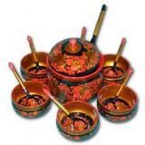 Хохлома сувенирная Набор для меда (6 персон)