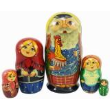 Матрешка Сергиево Посадская 5 мест Дед с петухом акрил