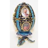 Копия Фаберже 114-0142-7 Яйцо пасхальное с портретами, синее