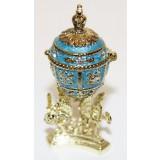 Копия Фаберже JD0495-3 Яйцо пасх. С короной внутри, малое, голубое