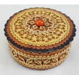 Береста шкатулка 31202 круглая янтарь