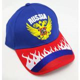 Головной убор Бейсболка Герб России, синий верх, красный козырек