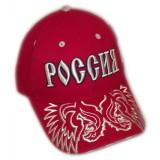 Головной убор Бейсболка красная Россия серебряная вышивка герба