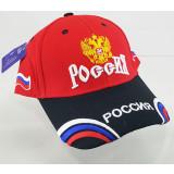 Головной убор Бейсболка Россия, Герб России, красный верх, синий...