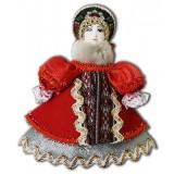 Кукла малая красный наряд, мех, аф40, елочная игрушка