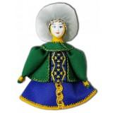 Кукла малая зеленосиний наряд, мех, аф43, елочная игрушка