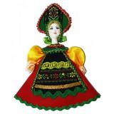 Кукла малая краснозеленый наряд, желтые рукава, аф47, елочная...