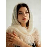 Платок Пуховый платок ручной работы паутинка белая, 120 x 120
