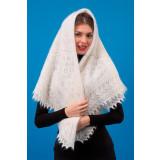 Платок Пуховый платок ручной работы шаль белая,125