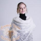 Платок Пуховый платок ручной работы белый классический, 1.30