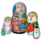 Новый Год и Рождество матрешка 5 мест дед мороз с медведем и...