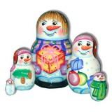 Матрешка 5 мест Снеговик с подарком