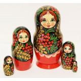Матрешка Сергиево-Посадская 5 мест Рябина Хохломская