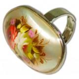 Бижутерия кольцо перламутровое в стиле Жостово