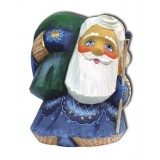 Новый Год и Рождество Дед Мороз синий с зеленым мешком, подставка...