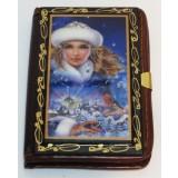 Книга записная средняя, девушка  со снегирем